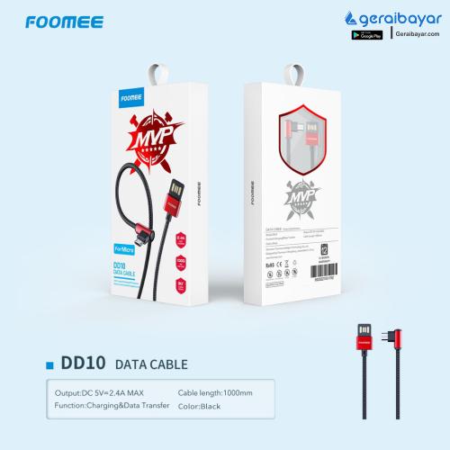 Aksesoris CHARGER & KABEL DATA / ADAPTOR - Kabel Data Foomee FD082 Micro USB 2.4A Fast Charging 100Cm Gamin