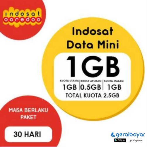 Paket Internet INDOSAT DATA MINI - ISAT DATA MINI 1GB 30HR (TOTAL 2,5GB)