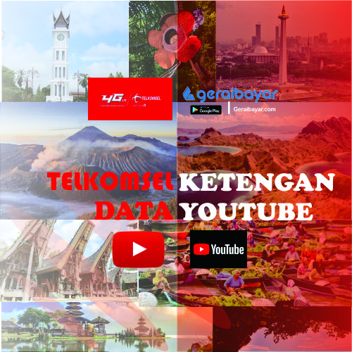Paket Internet TELKOMSEL DATA KETENGAN YOUTUBE - YOUTUBE 1GB 3 HARI